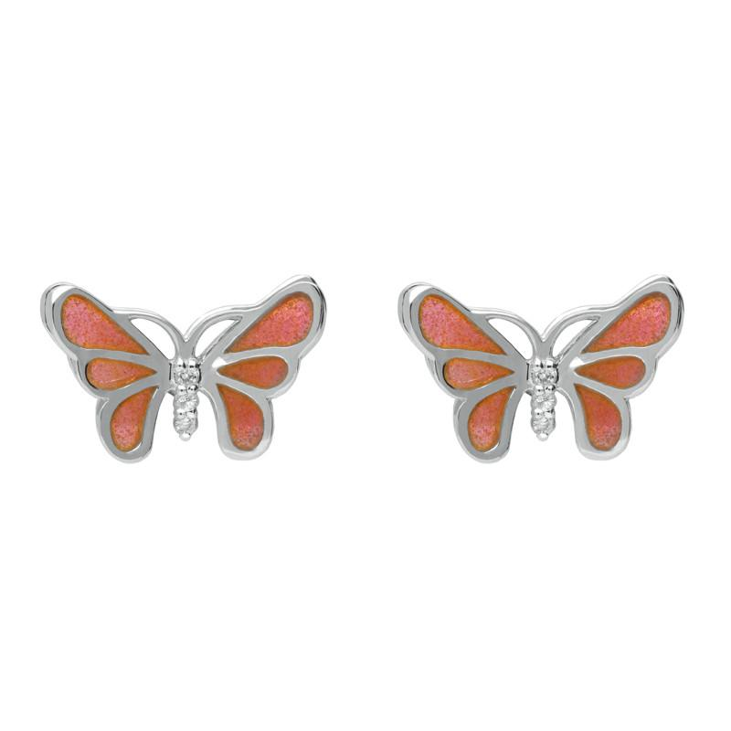 Sterling Silver White Sapphire Red Enamel House Style Butterfly Stud Earrings