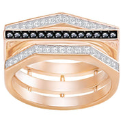 Swarovski Rose Gold Black And White Crystal Geometry Ring 5284080