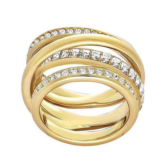 Swarovski Yellow Gold White Crystal Dynamic Ring Size 50 5221432