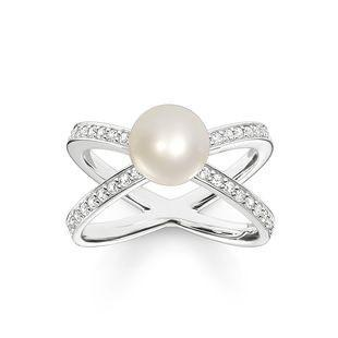 35175fe3b48 ... Thomas Sabo Glam And Soul Sterling Silver White Zirconia Freshwater  Pearl Ring D