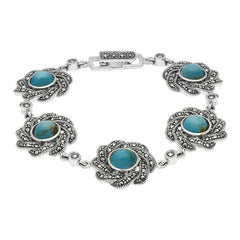 Sterling Silver Turquoise Marcasite Twisted Ribbon Edged Round Bracelet