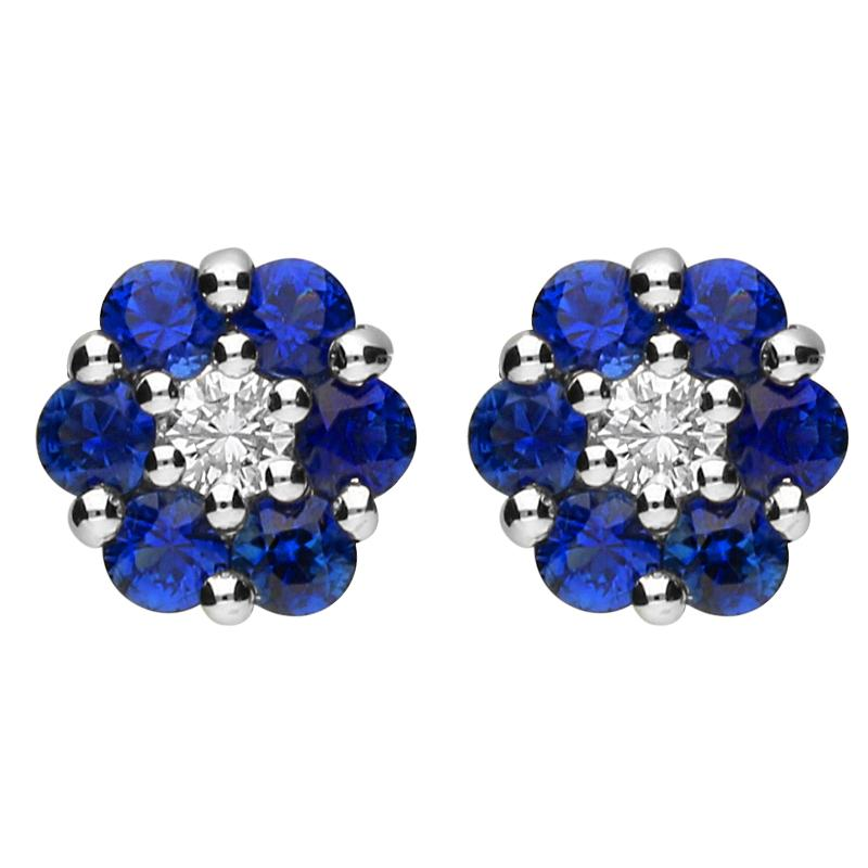18ct White Gold 0.92ct Sapphire and 0.12ct Diamond Cluster Earrings