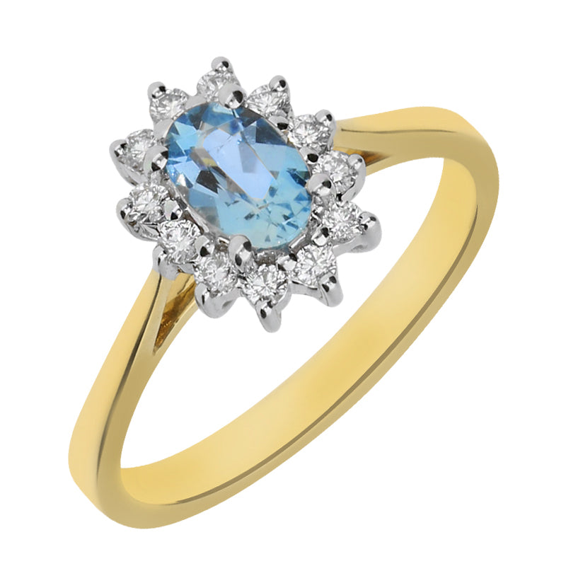 18ct Yellow Gold Aquamarine Diamond Cluster Ring