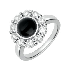 18ct White Gold Whitby Jet and Diamond Large Round Cluster Ring