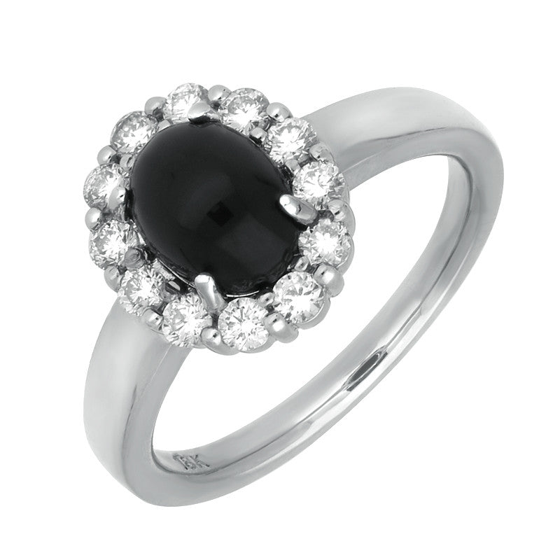 18ct White Gold Whitby Jet And Diamond Oval Claw Cluster Ring