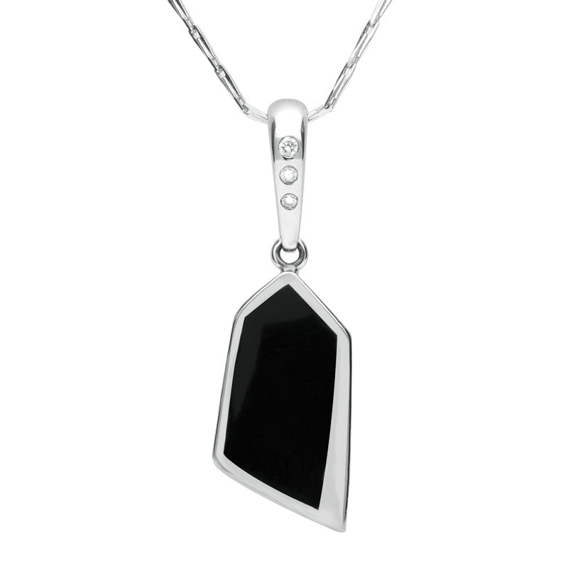 18ct White Gold Whitby Jet And Diamond Unique Rectangular Necklace