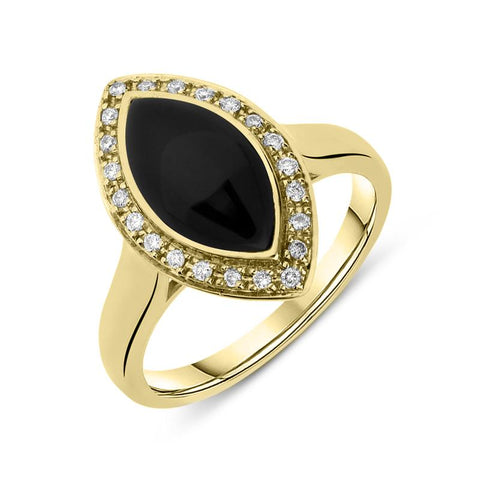 18ct Yellow Gold Whitby Jet 0.13ct Diamond Marquise Pave Ring