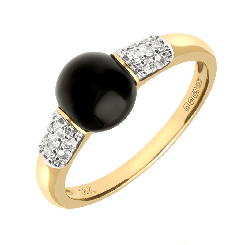 18ct Yellow Gold Whitby Jet Diamond Round Pave Shoulder Ring