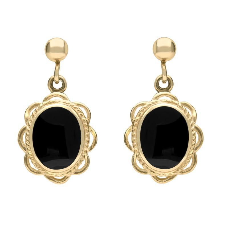 9ct Yellow Gold Whitby Jet Rope Oval Frill Drop Earrings