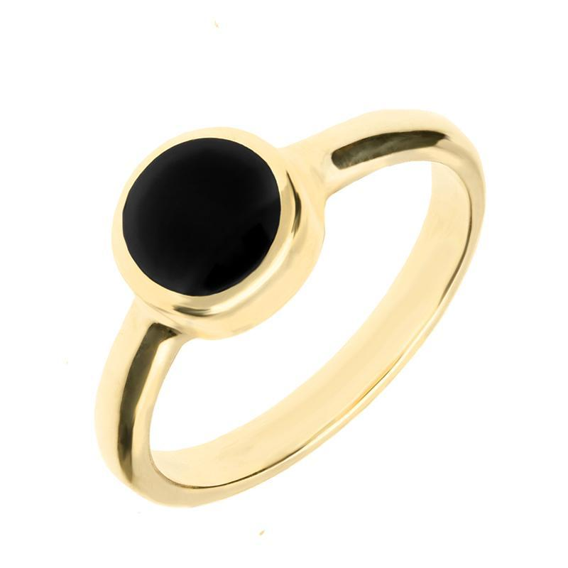 9ct Yellow Gold and Whitby Jet Round Stone Set Ring