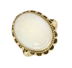 9ct Yellow Gold White Opal Lace Edge Ring