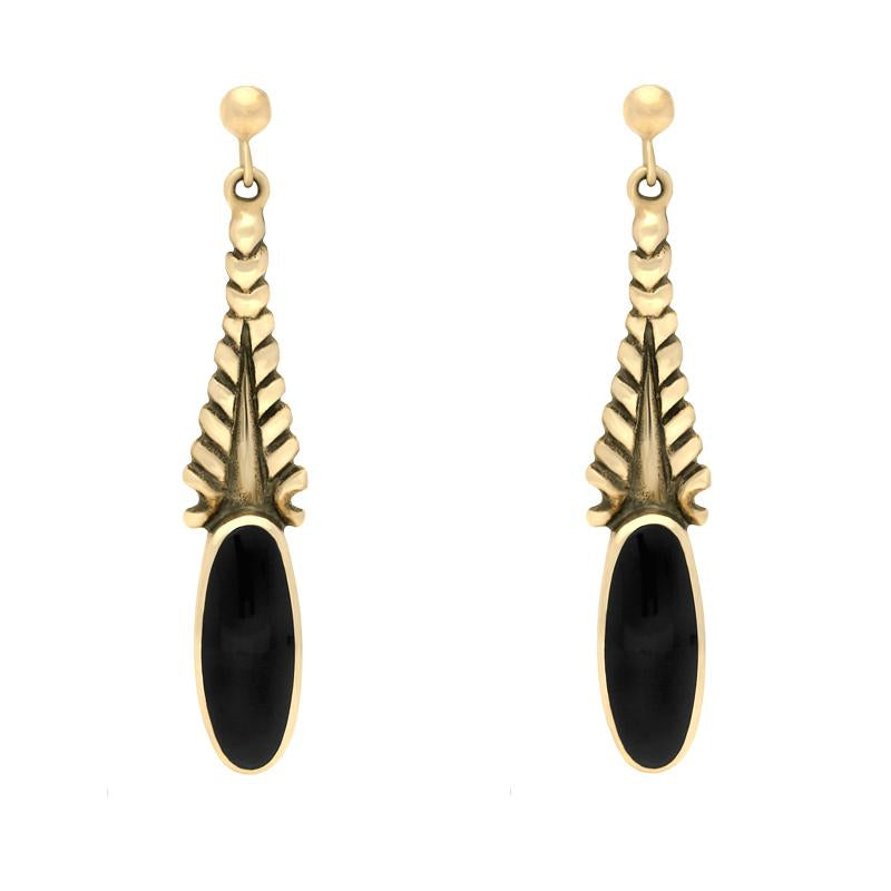 9ct Yellow Gold and Whitby Jet Tapered Flute Drop Earrings