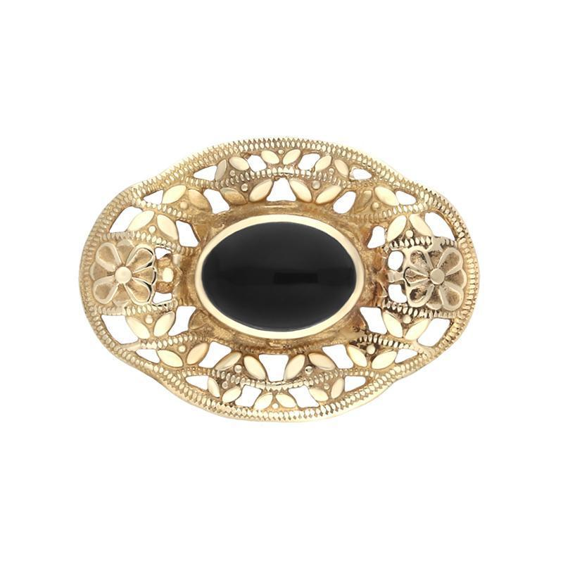 9ct Yellow Gold and Whitby Jet Oval Filigree Brooch