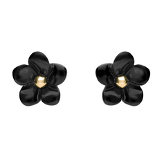 9ct Yellow Gold Whitby Jet Small Flower Stud Earrings