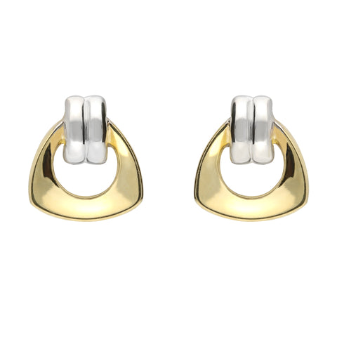 9ct Yellow and White  Gold Stirrup Style Stud Earrings