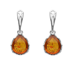 Sterling Silver Amber Pierced Side Pear Drop Earrings