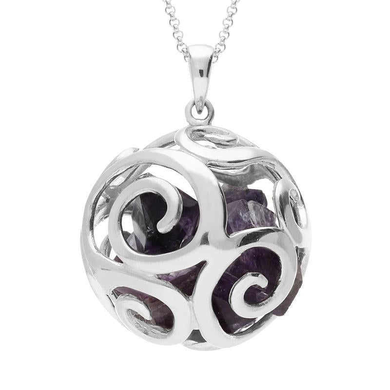 Sterling Silver Blue John Swirl Bead Ball Necklace