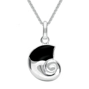 00045310 W Hamond Sterling Silver Whitby Jet Ammonite Shaped Necklace, P1677