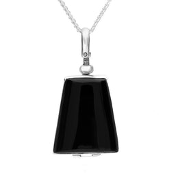00157660 W Hamond Sterling Silver Whitby Jet Glass Trapezium Locket, P3299.