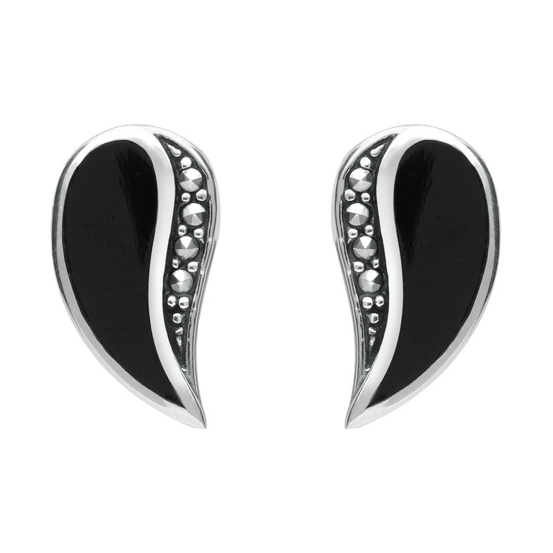 Silver Whitby Jet and Marcasite Teardrop Stud Earrings