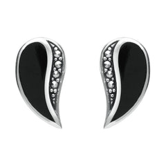 Sterling Silver Whitby Jet Marcasite Teardrop Stud Earrings