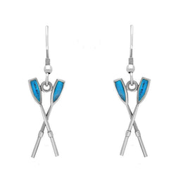 00073185 W Hamond Sterling Silver Regatta Blue Oar Drop Earrings, E1506.