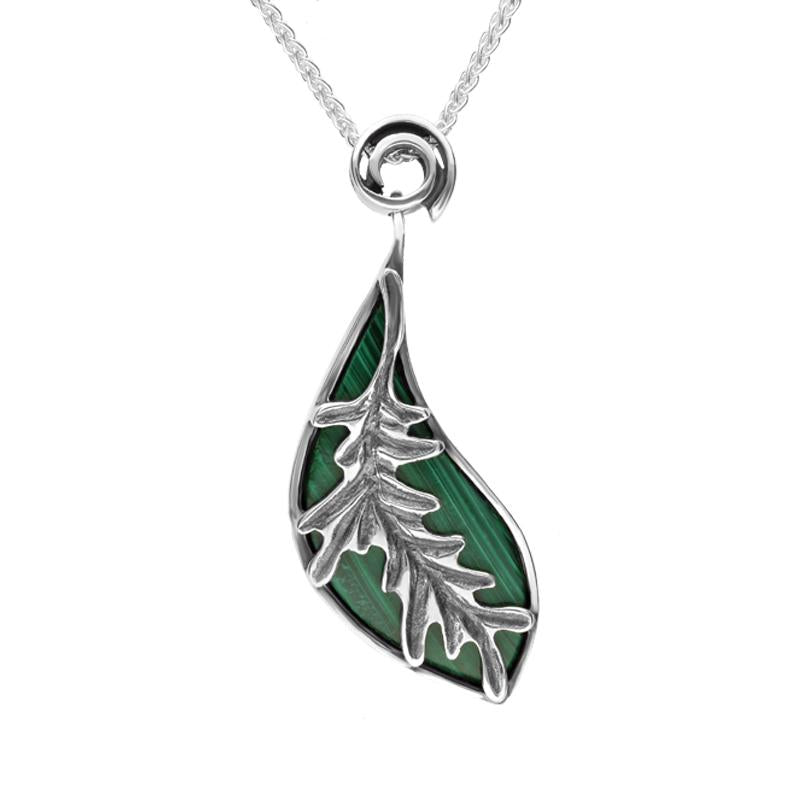 Silver and Malachite Acanthus Leaf Necklace