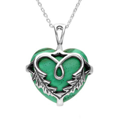 Sterling Silver and Malachite Medium Acanthus Heart Necklace