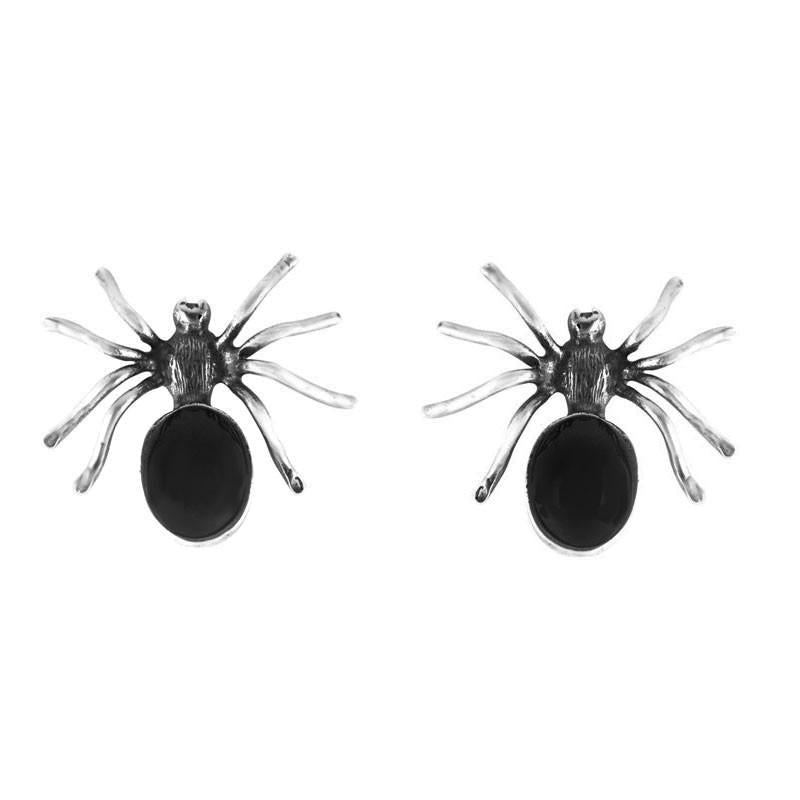 Silver and Whitby Jet Spider Stud Earrings