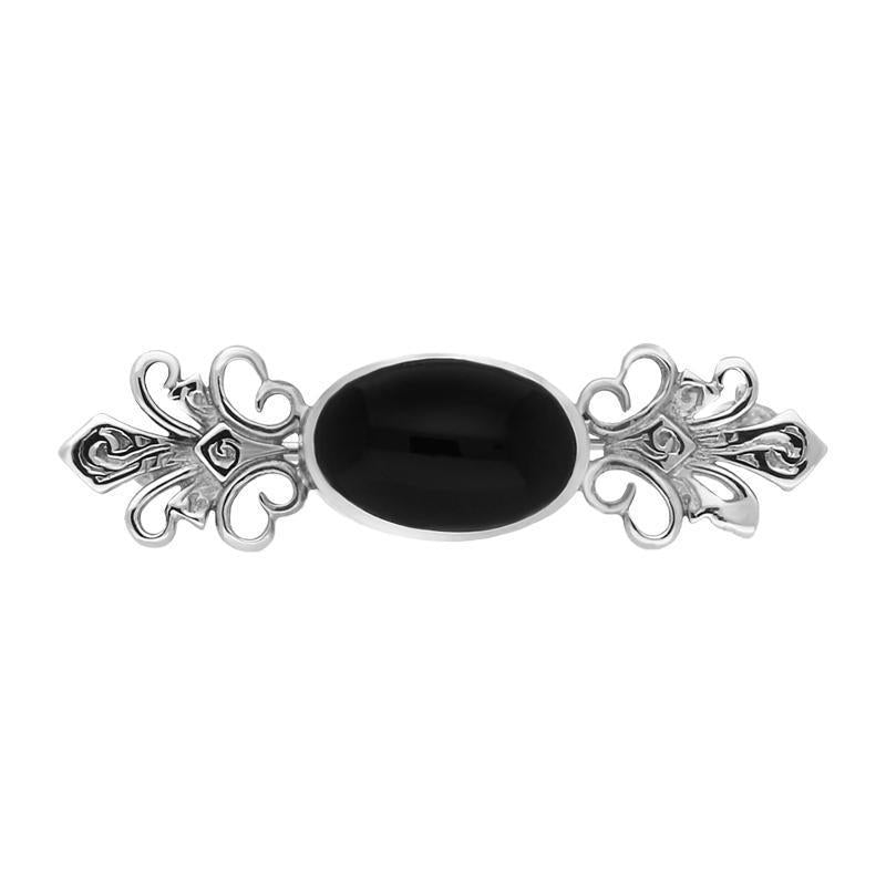 Sterling Silver and Whitby Jet Small Engraved Brooch