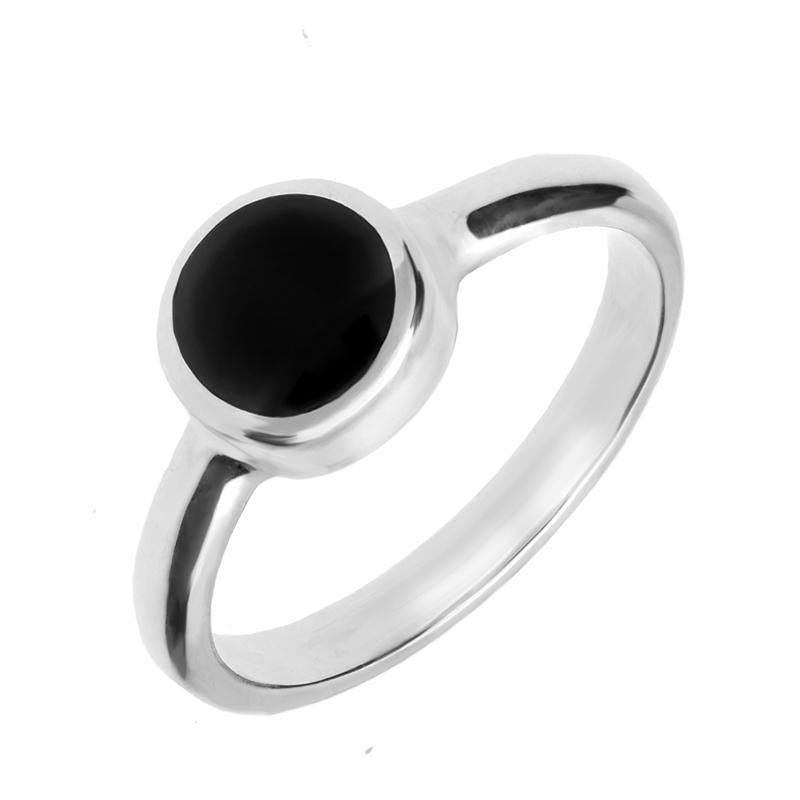 Sterling Silver Whitby Jet Round Stone Set Ring