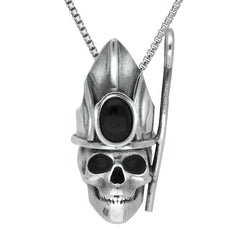 Sterling Silver and Whitby Jet Skull With Crown and Shepherds Crook Necklace