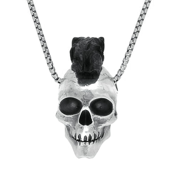 00123034 W Hamond Sterling Silver Whitby Jet Unique Skull With Mohawk Necklace, PUNQ0004520.