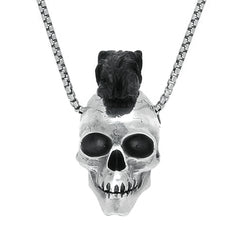 Sterling Silver and Whitby Jet Unique Skull With Mohawk Necklace