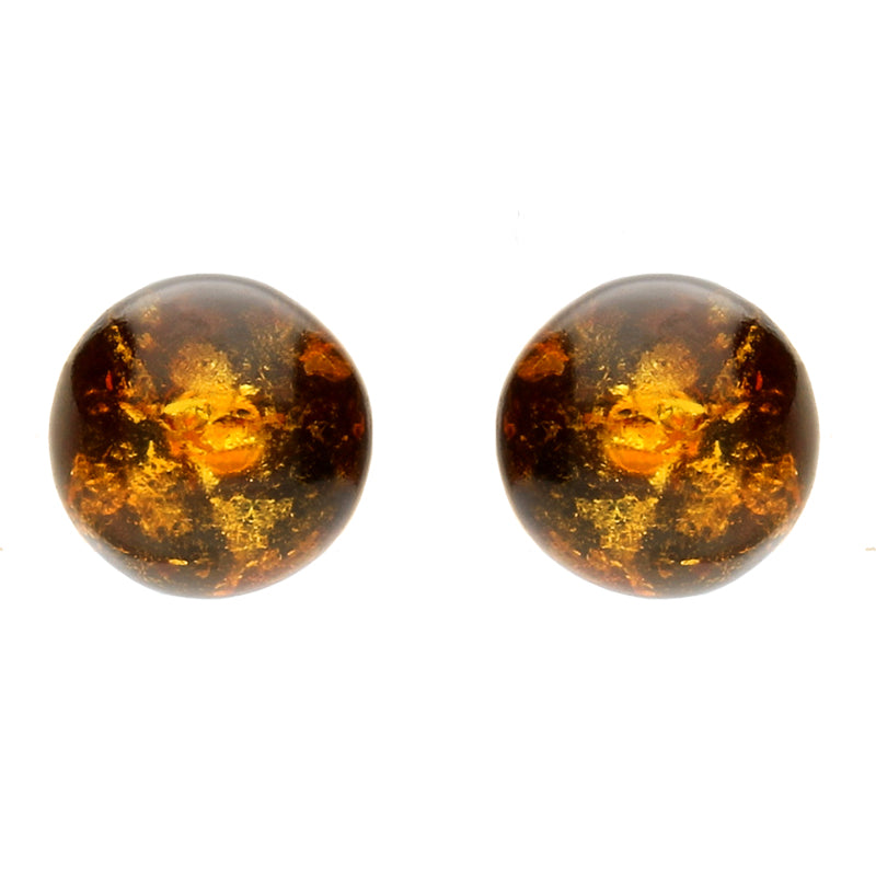 Silver And Amber Yellow Ball Stud Earrings