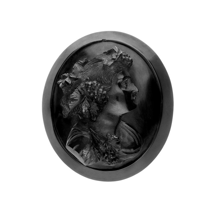 Antique Whitby Jet Carved Cameo with Grapes and Leaves Brooch