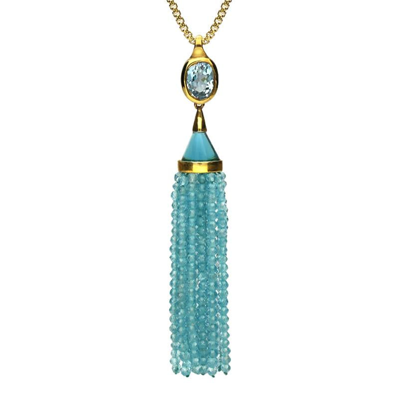 Yellow Gold Oval Aquamarine Cascade Necklace