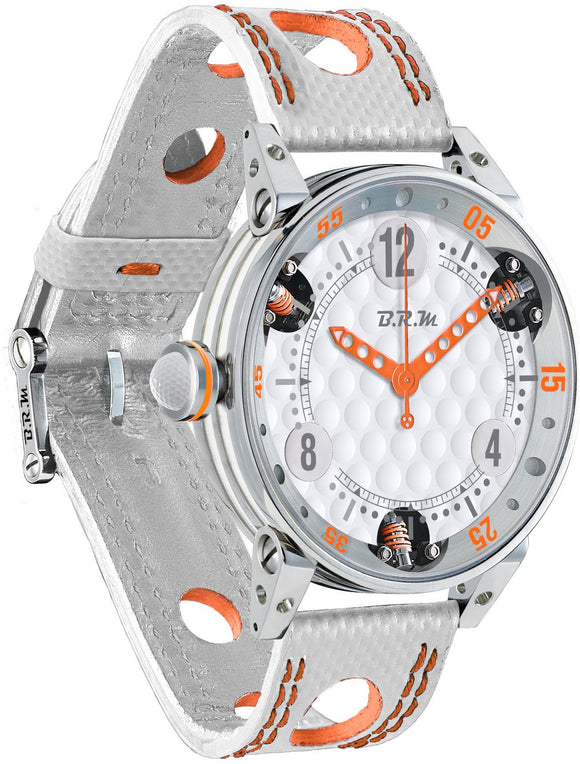 B.R.M Watch Golf Master Mens Orange Hands GF6-44-SA-AO