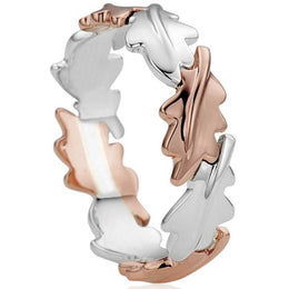 Clogau Royal Oak Sterling Silver 9ct Rose Gold Ring 3SOLR/O