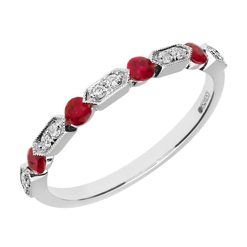 18ct White Gold 0.30ct Ruby 0.07ct Diamond Half Eternity Ring