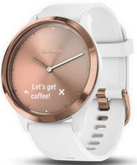 Garmin Watch Vivomove HR Rose Gold Tone with White Silicone Band