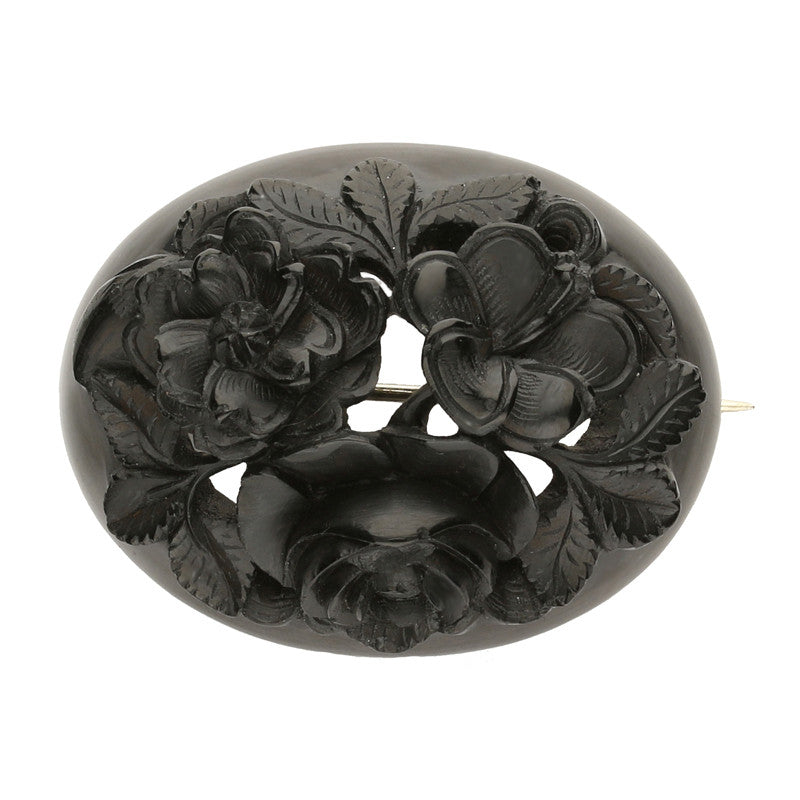 Antique Whitby Jet Carved Oval Flower Brooch