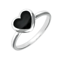 Sterling Silver Whitby Jet Heart Ring