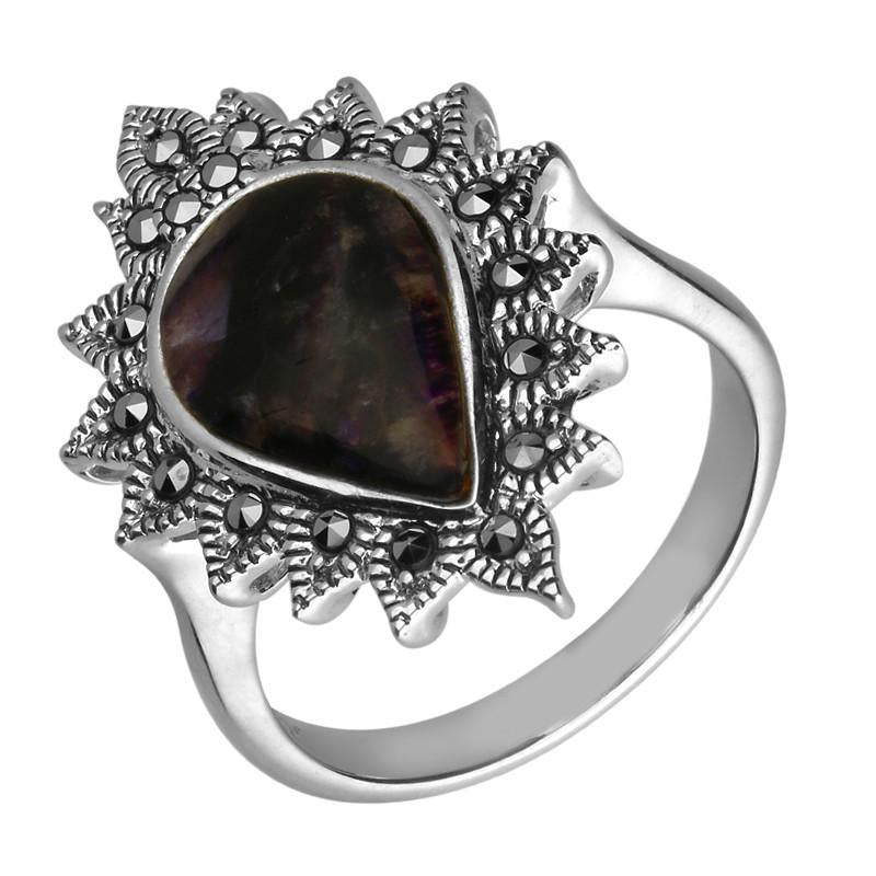 Silver Blue John And Marcasite Pear Beaded Edge Ring