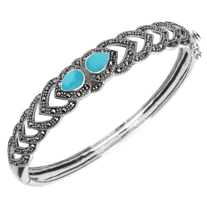 Silver Turquoise And Marcasite Two Stone Open Pear Bangle