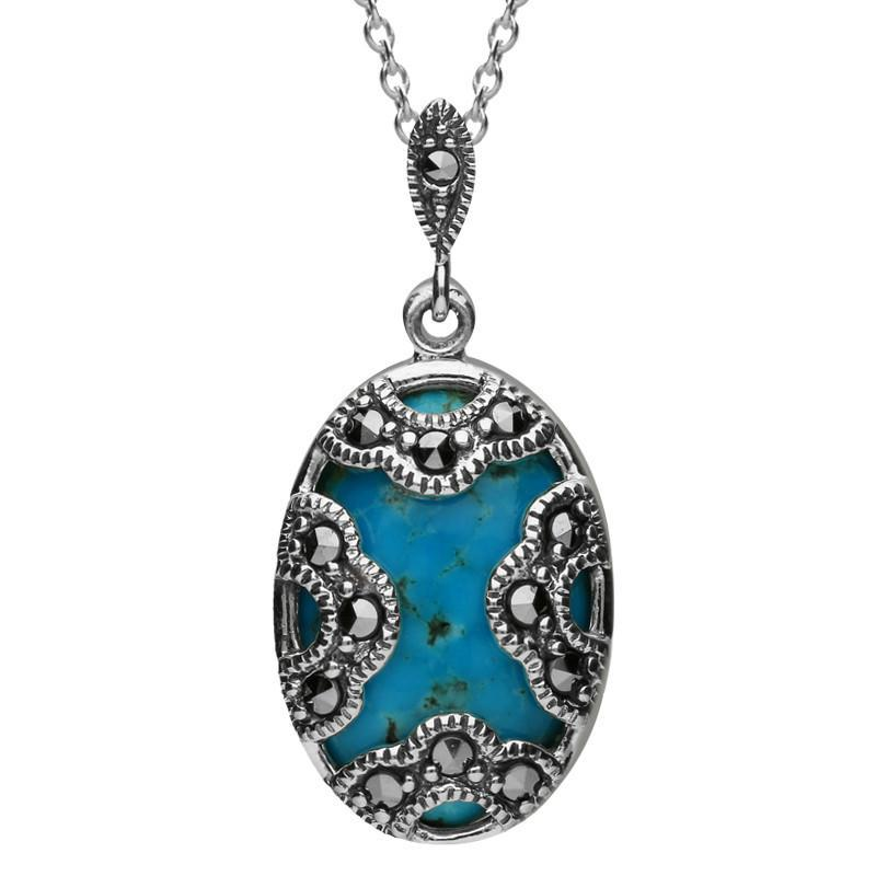 Sterling Silver Turquoise and Marcasite Art Deco Oval Cased Necklace