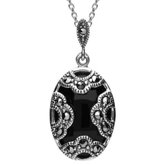 Sterling Silver Whitby Jet Marcasite Art Deco Oval Cased Necklace
