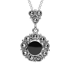 Sterling Silver Whitby Jet and Marcasite Round Central Beaded Necklace