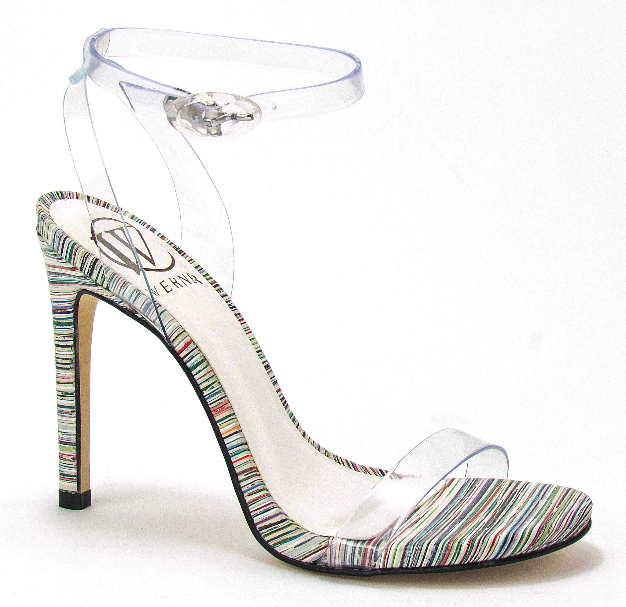 PU clear straps for a nude illusion sitting atop a tasteful, multi-colored, stiletto heel.❤ In New Orleans at Shoe Be Do.