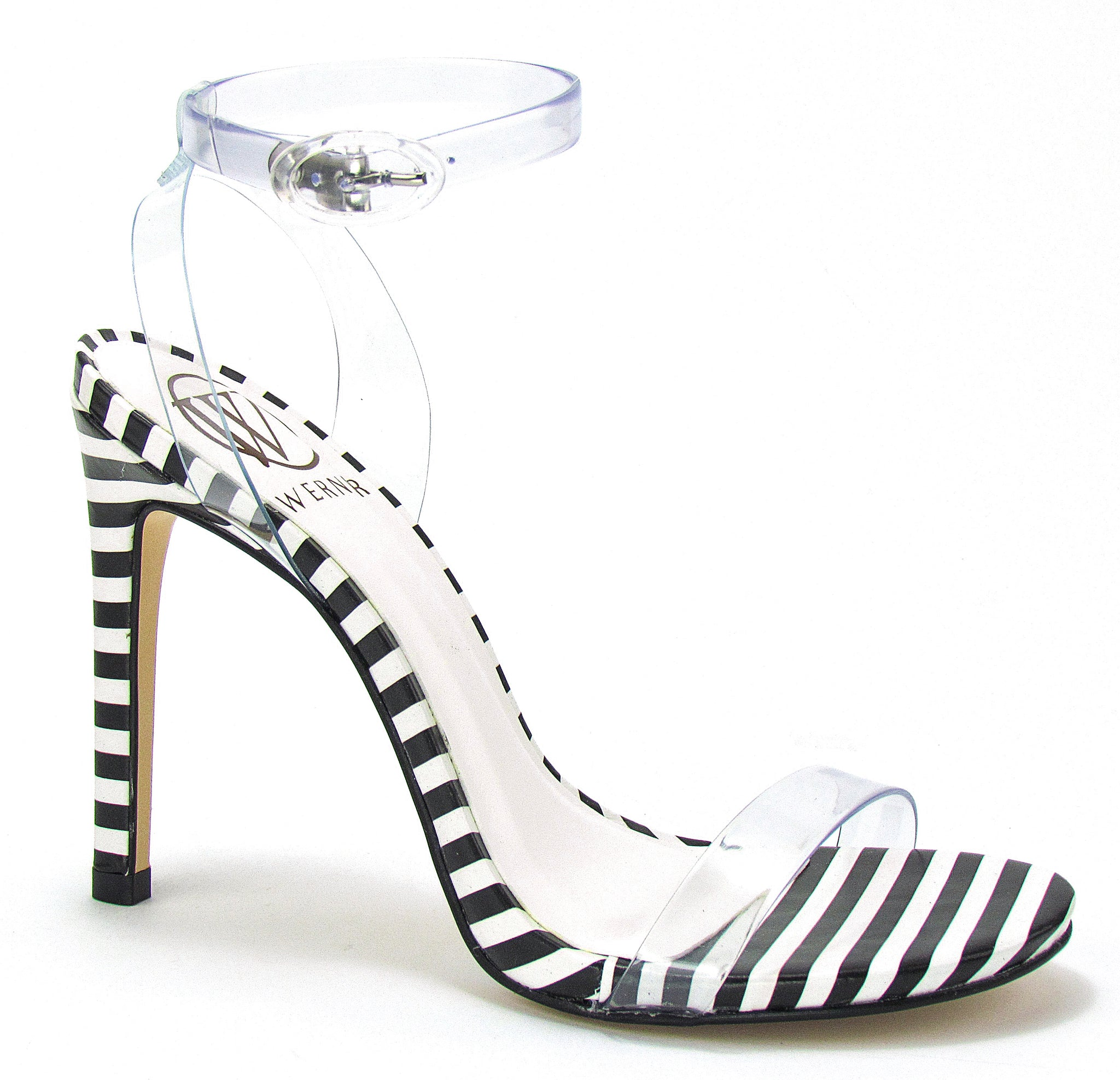 PU clear straps for a nude illusion sitting atop a tasteful, stiletto heel printed in black and white horizontal stripes.❤ In New Orleans at Shoe Be Do.